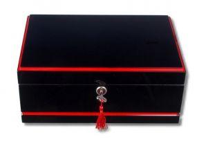 Humidor 50 szál szivar részére, lakkozott fekete cédrusfa szivar doboz, piros díszítő csíkkal, párásítóval, hygrométerrel, Passatore - Gyönyörű ajándék!