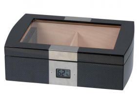 Humidor 50 szivar részére, carbon hatású, cedrusfa szivar doboz, üvegtetővel, digitális hygrometerrel - Passatore