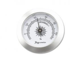 Szivar tartó dobozba higrométer - páratartalommérő - ezüst színű (50mm)