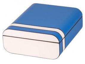Humidor 40 szál szivar részére, cédrusfa szivar tároló doboz, párásítóval, külső hygrométerrel, kék, ovál - Passatore
