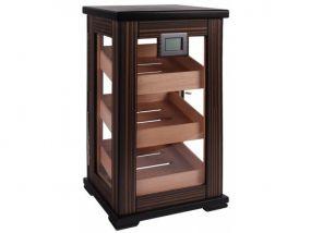 Gasztro Szivarszekrény - szivar tároló, 80-100 szál szivarnak, körbe üveges, digitális hygrométer