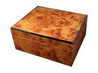 Humidor 40 szivar részére, világosbarna, gyökérmintás cédrusfa szivartartó doboz, párásítóva és külső hygrometerrel
